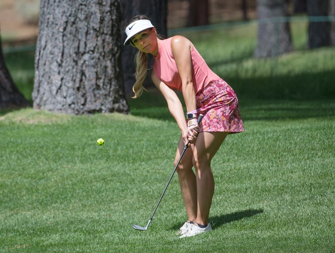 Kira K. Dixon chips onto the green during the ACC Golf Tournament at Edgewood Tahoe Golf Course in South Lake Tahoe on Friday, July 10, 2020.