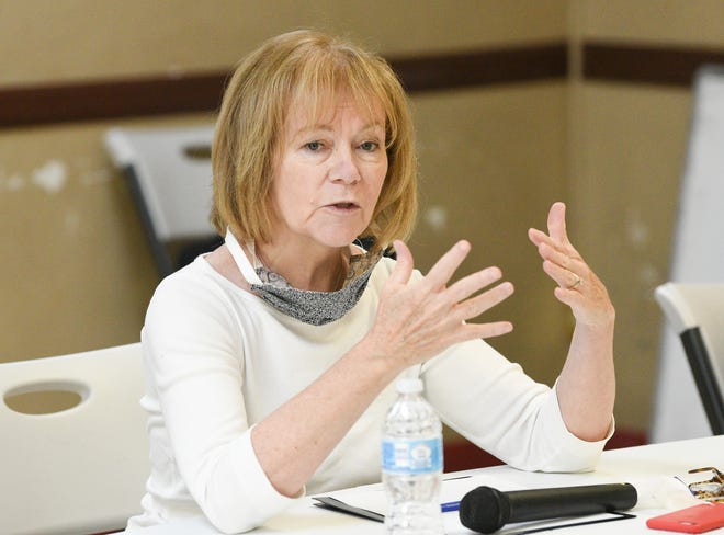 Senator Tina Smith speaks at the Islamic Center of St. Cloud Saturday, July 11, 2020.