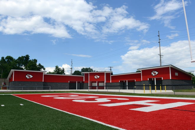 Coshocton's new fieldhouse is nearing completion at Stewart Field. The 5,000-square foot facility will house new locker rooms for football, both soccer teams and also features new restroom and concession areas.