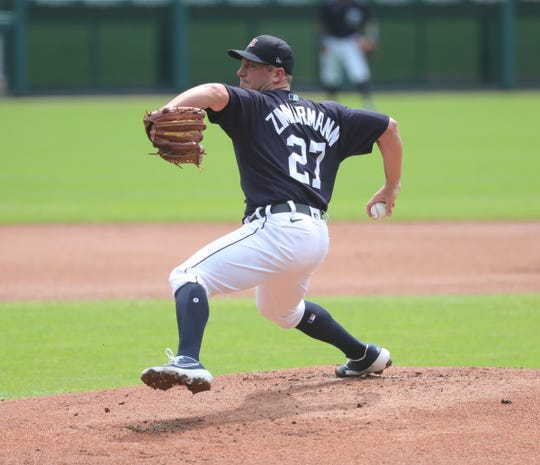 Detroit Tigers right-hander Jordan Zimmermann plans during an intrasquad review at Comerica Park in Detroit on Sunday, July 12, 2020.