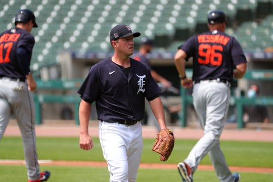 Jordan Zimmermann struggled in the first inning of an intrasquad scrimmage at Comerica Park in Detroit on Sunday, July 12, 2020.