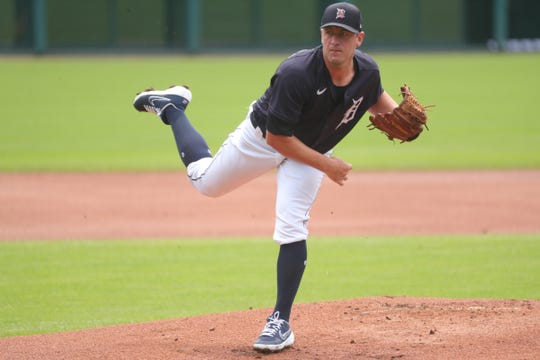 Jordan Zimmermann plans for the Detroit Tigers during an intrasquad review at Comerica Park in Detroit on Sunday, July 12, 2020.