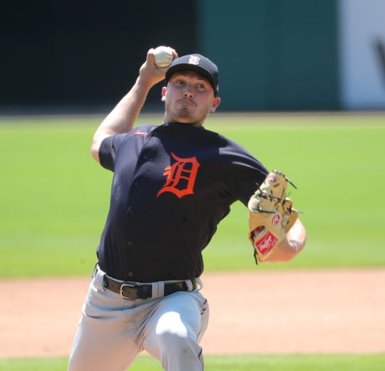 Detroit Tigers' Beau Burrows pitches during an intrasquad scrimmage at Comerica Park in Detroit, Sunday, July 12, 2020.