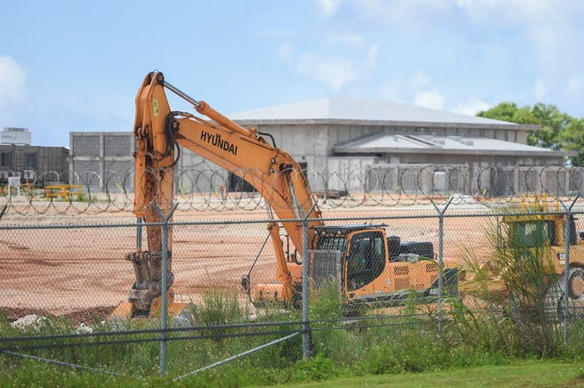 A military buildup construction site at U.S. Naval Computer and Telecommunications Station, Dededo, July 12, 2020.