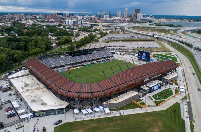 Fans begin to arrive for the home opener for LouCity FC against Pittsburgh on Sunday, July 12, 2020.  The game is the first at Lynn Family Stadium.