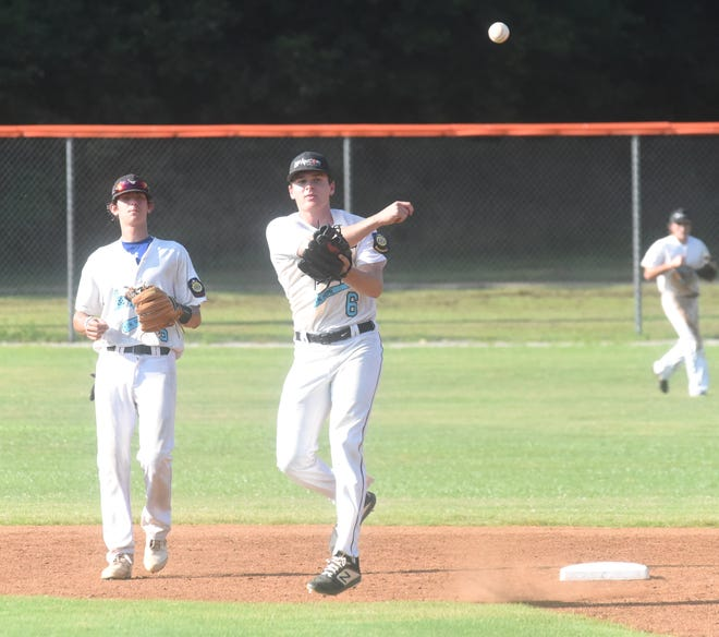 Lockeroom second baseman Tyler Guffey (6) throws to first for an out as shortstop Josh Prinner backs him up Saturday at Batesville.