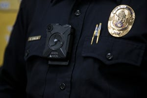 An Axon body camera is seen on Sgt. Kevin Johnson on Thursday, June 20, 2019, at the Phoenix Police Department South Mountain Precinct in Phoenix.
