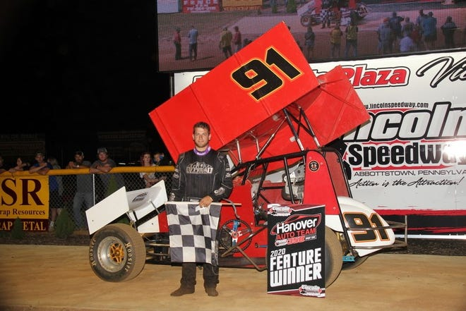 Tyler Ross, seen here in a file photo, won Saturday's 410 sprint feature at Lincoln Speedway.