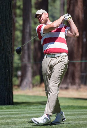 Travis Kelce hits a tee shot during the ACC Golf Tournament at Edgewood Tahoe Golf Course in South Lake Tahoe on Saturday, July 11, 2020.