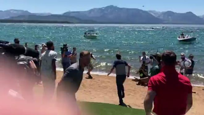 Mardy Fish jumped in Lake Tahoe last July after winning the American Century Championship celebrity golf tournament at Edgewood-Tahoe.