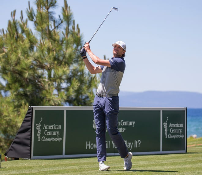 Mardy Fish hits a drive on the 17th hole during the ACC Golf Tournament at Edgewood Tahoe Golf Course in South Lake Tahoe last year.