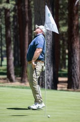 Kyle Williams reacted after missing a putt on the 15th hole of the ACC Golf Championship at the Edgewood Tahoe Golf Course in South Lake Tahoe on Sunday.