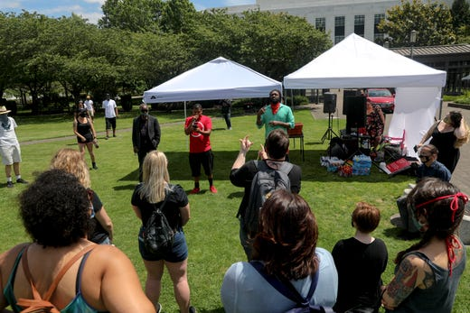 Gregg Simpson speaks during the War on Racism rally at the Oregon State Capitol, in Salem, Oregon, on Saturday, July 11, 2020.
