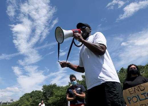William Jones speaks during the War on Racism rally at the Oregon State Capitol, in Salem, Oregon, on Saturday, July 11, 2020.