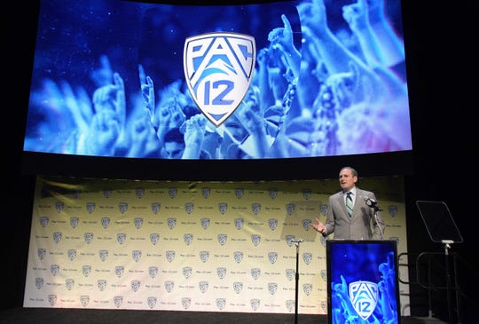 Pac-12 commissioner Larry Scott speaks at the conference's 2019 football media day last July.