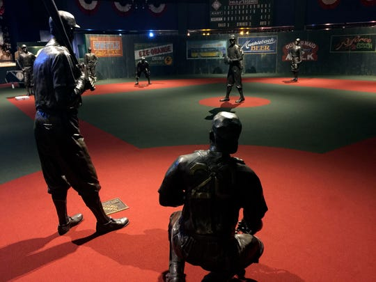 The Field of Legends, complete with bronze sculptures, at the Negro Leagues Baseball Museum in Kansas City, Mo.