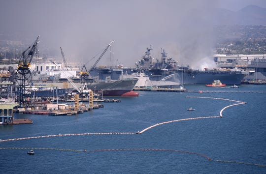 A general view of the USS Bonhomme Richard following an explosion and fire.
