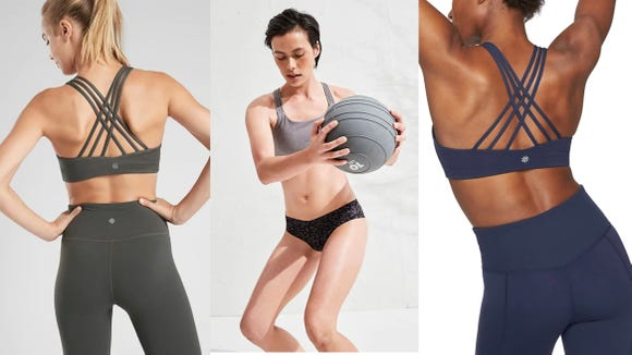 This strappy sports bra has a perfect five-star rating.