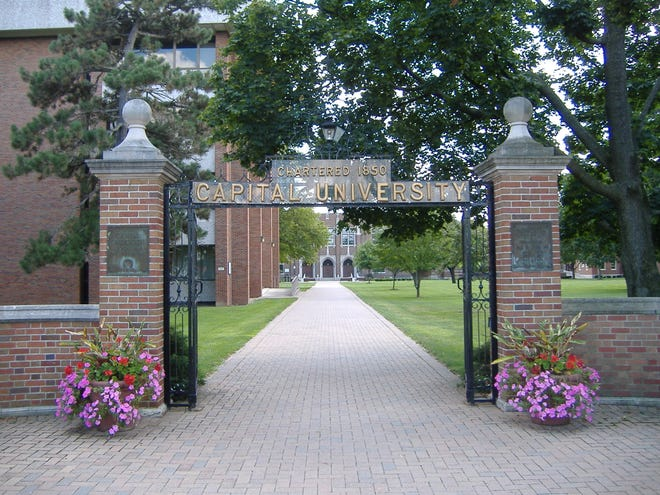 Gateway to the Capital University campus in Bexley, Ohio.