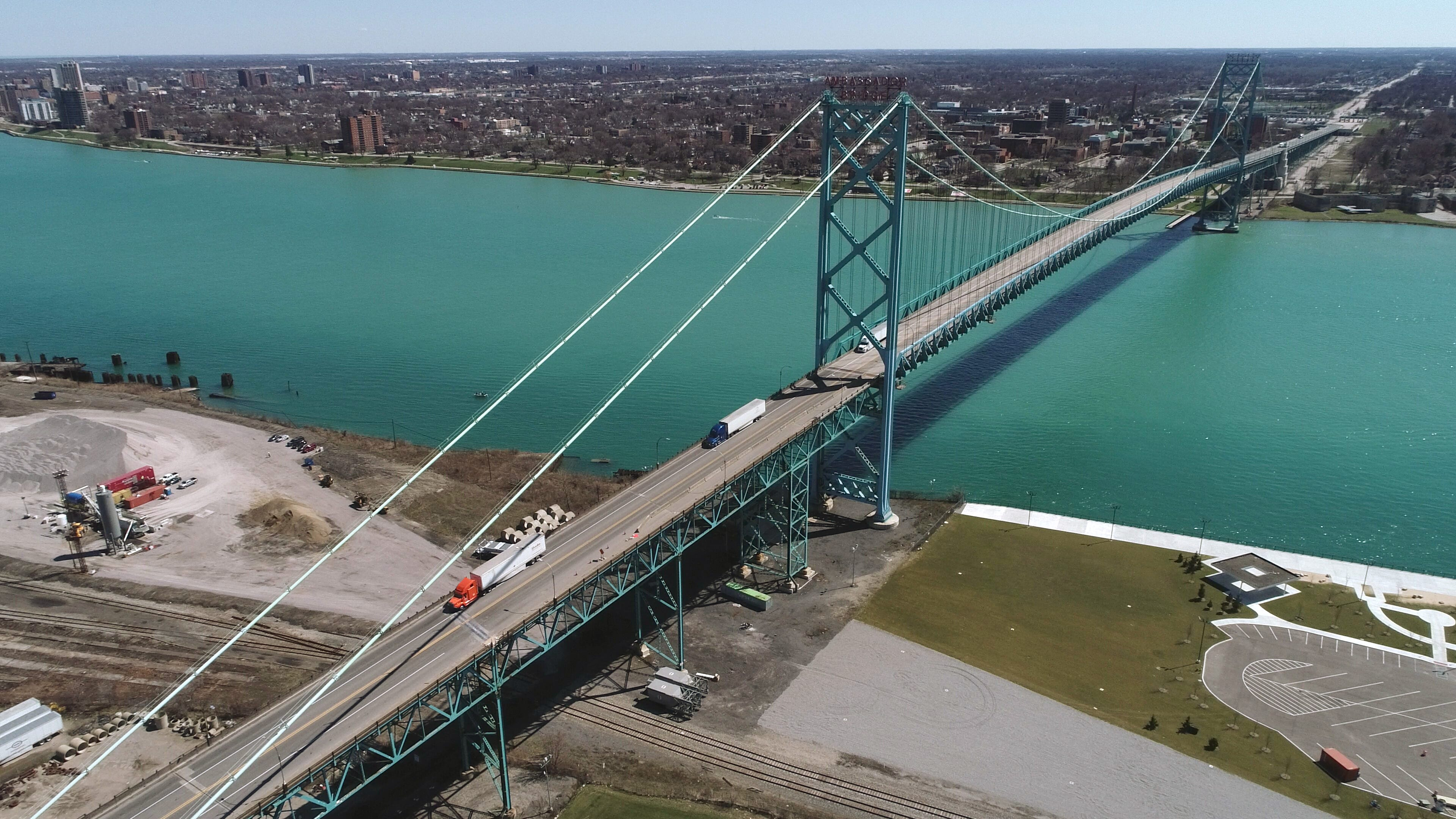 The Ambassador Bridge on April 2, 2020. The bridge, which spans the Detroit River and connects Detroit to Windsor, is owned by Matty Moroun.