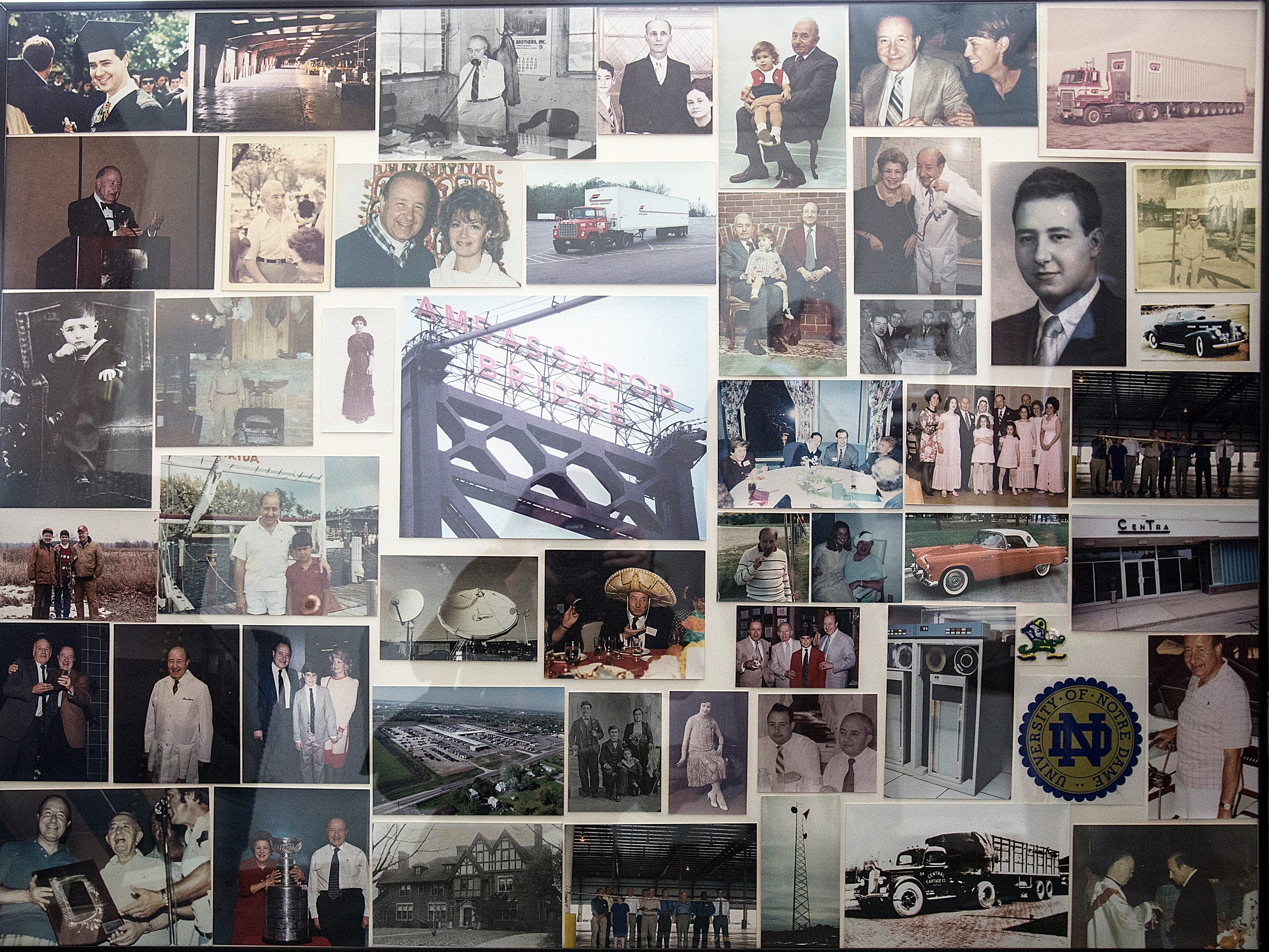 """Family photos of trucking magnate Manuel """"Matty"""" Moroun and son Matthew Moroun hang in a small room between their offices at Central Transport headquarters in Warren on Feb. 13, 2018."""