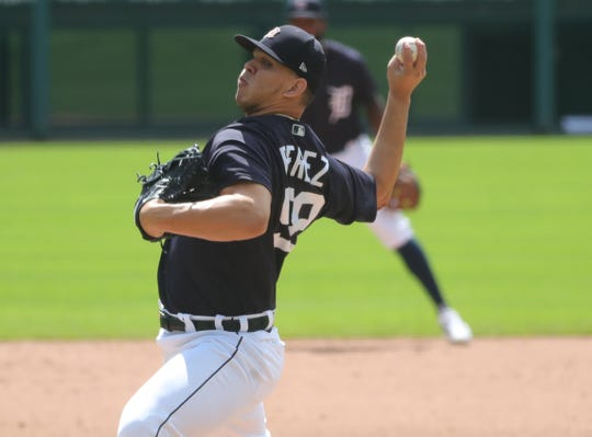 Detroit Tigers' Franklin Perez pitches during intrasquad action Monday, July 13, 2020 at Comerica Park.