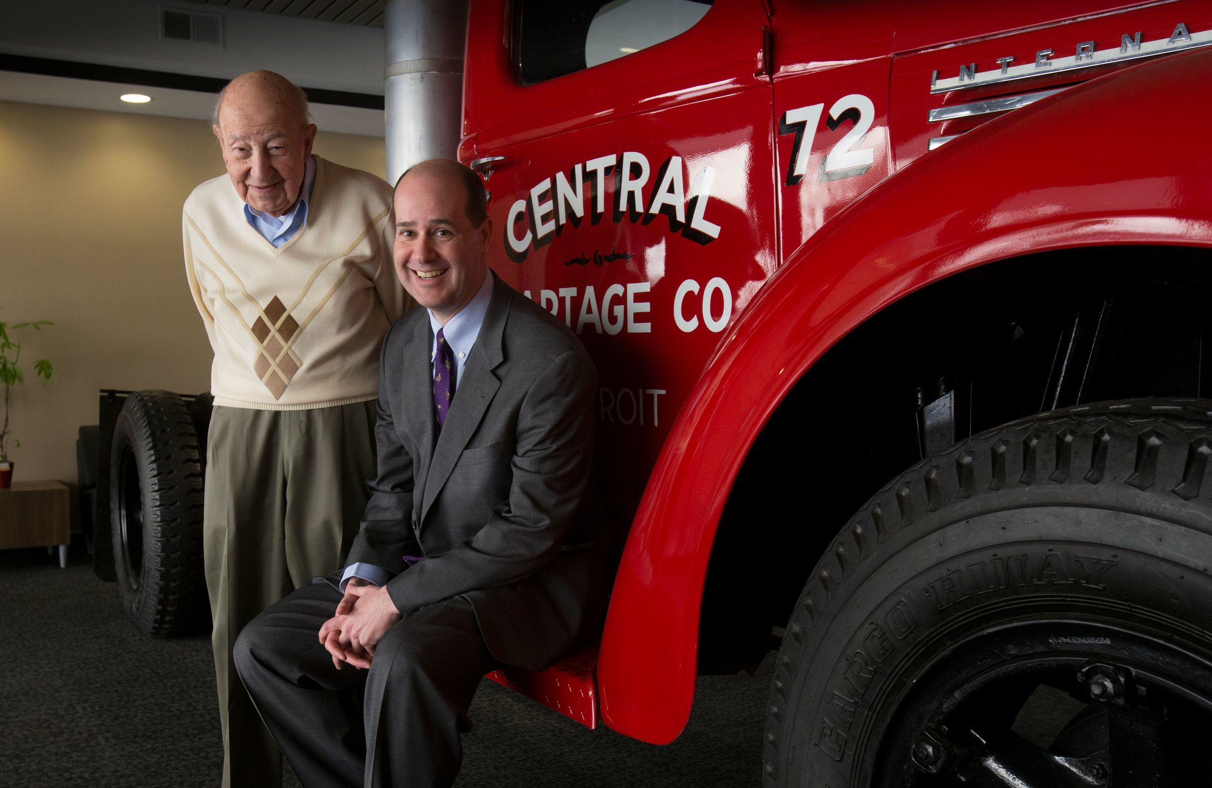 """Trucking magnate Manuel """"Matty"""" Moroun and son Matthew Moroun are photographed at their Central Transport headquarters in Warren on Feb. 13, 2018."""