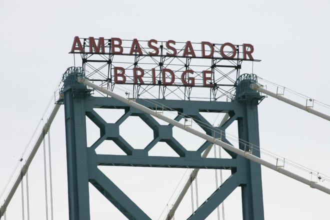 The Ambassador Bridge name is seen on one of the bridge's two towers on March 24, 2010. The bridge, which spans the Detroit River and connects Detroit to Windsor, is owned by Matty Moroun.