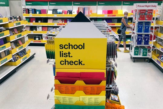 Back-to-school supplies await shoppers at a store on Monday, July 13, 2020, in Marlborough, Mass. School districts across America are trying to decide how to resume classes in the fall amid the ongoing coronavirus pandemic.