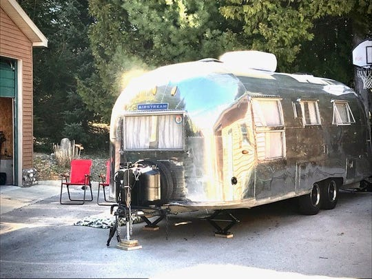 Mike and Jeanne Antulis spent 200 hours polishing their 1961 Airstream Overlander.