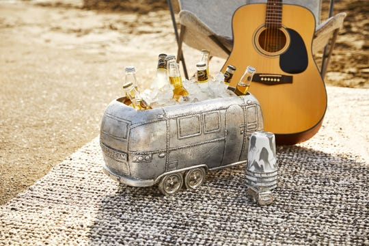 The Airstream Party Cooler is hand-cast in aluminum to look like an Airstream. It's finished with a coat of lacquer. It costs $169.
