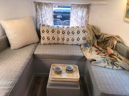 Mike Antulis and his brother-in-law built the custom seating area in his Airstream.