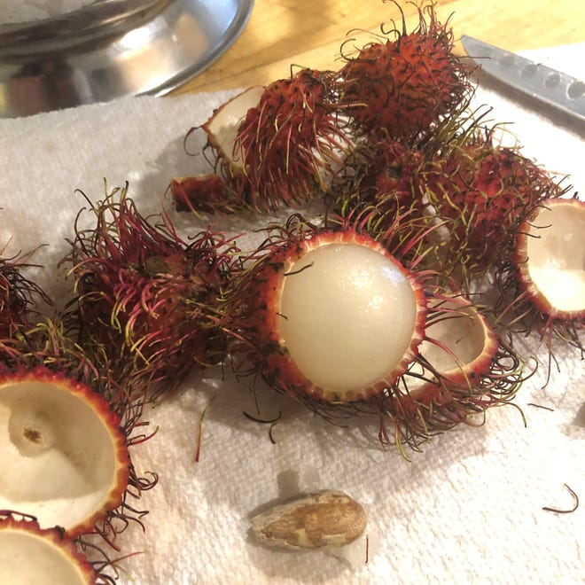 Rambutan have hairy, berry-red skins that peel away to reveal juicy and sweet balls of fruit.