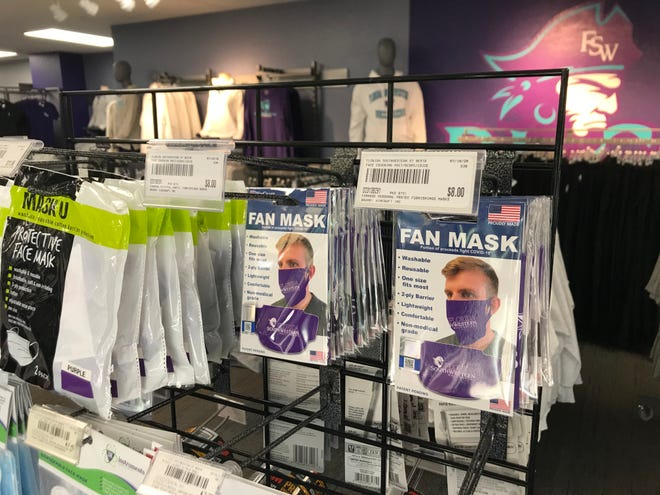 "Florida SouthWestern State College is requiring the use of face masks, or coverings, for students and employees while inside buildings. The school store even carries a ""fan"" face mask featuring the college's campus and logo."
