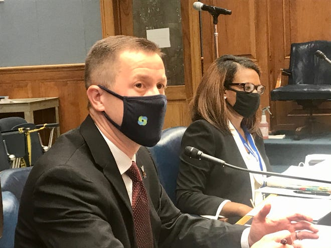 Louisiana Education Superintendent Cade Brumley and Louisiana Department of Health Secretary Courtney Phillips testify before the Louisiana House Education Committee July 13.