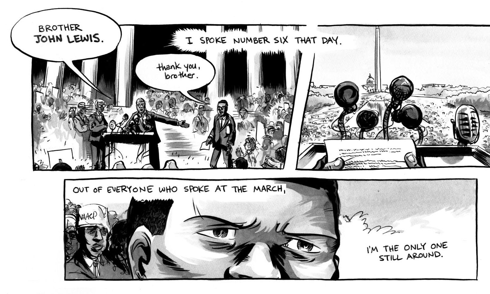 """A snippet from March: Book Two, a graphic novel by Lewis, who hopes the message will reach young people.An illustration from """"March: Book Two,"""" a graphic novel by Rep. John Lewis."""
