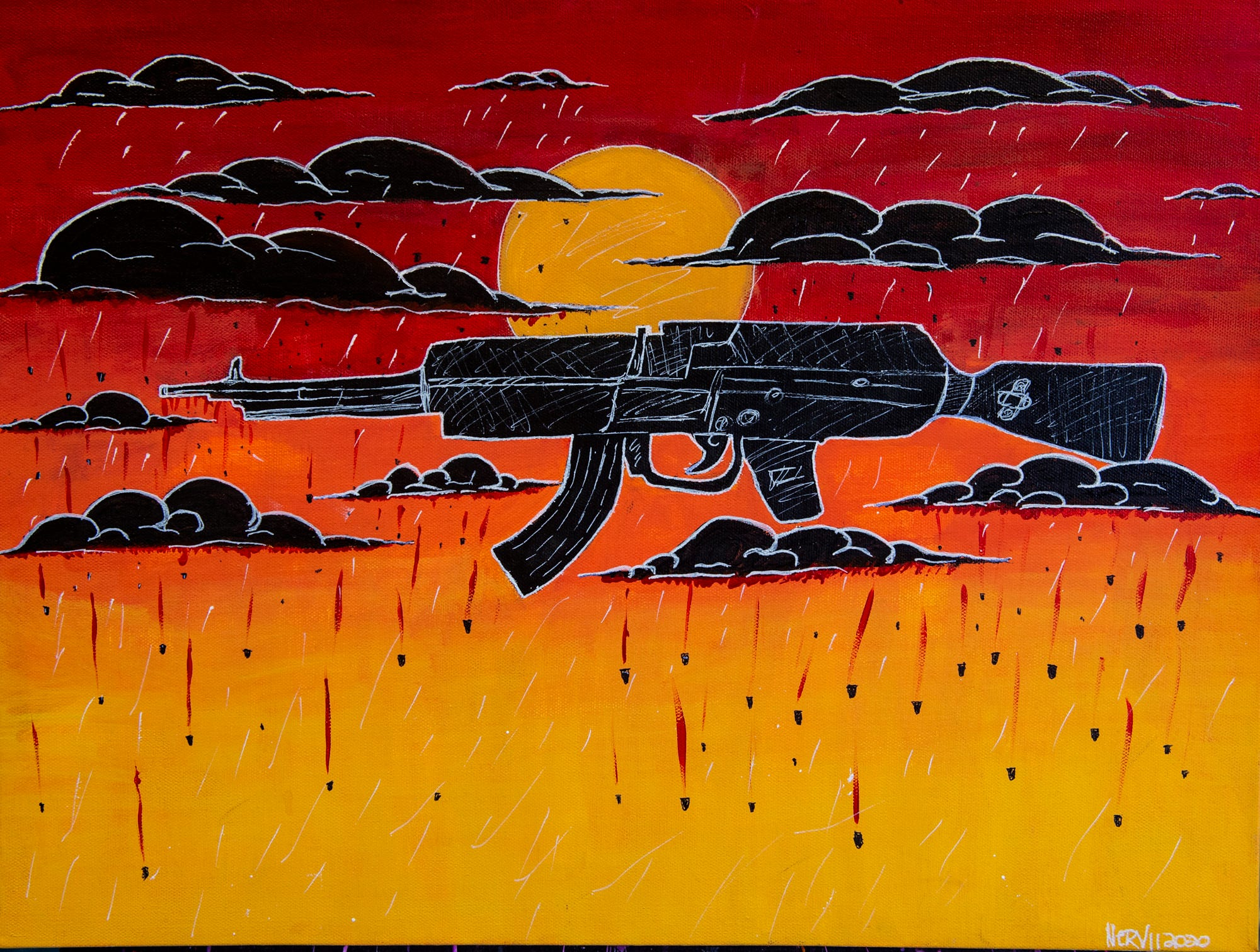"""The Advertiser partnered with artists through King's Canvas studio in Montgomery to create artwork that illustrates the impact of violence on their communities.   """"Stray Bullet Rain"""" by Kyzetta Kelly. Artist statement: """"Celebratory gun shots in the sky often ends in a dirge."""""""