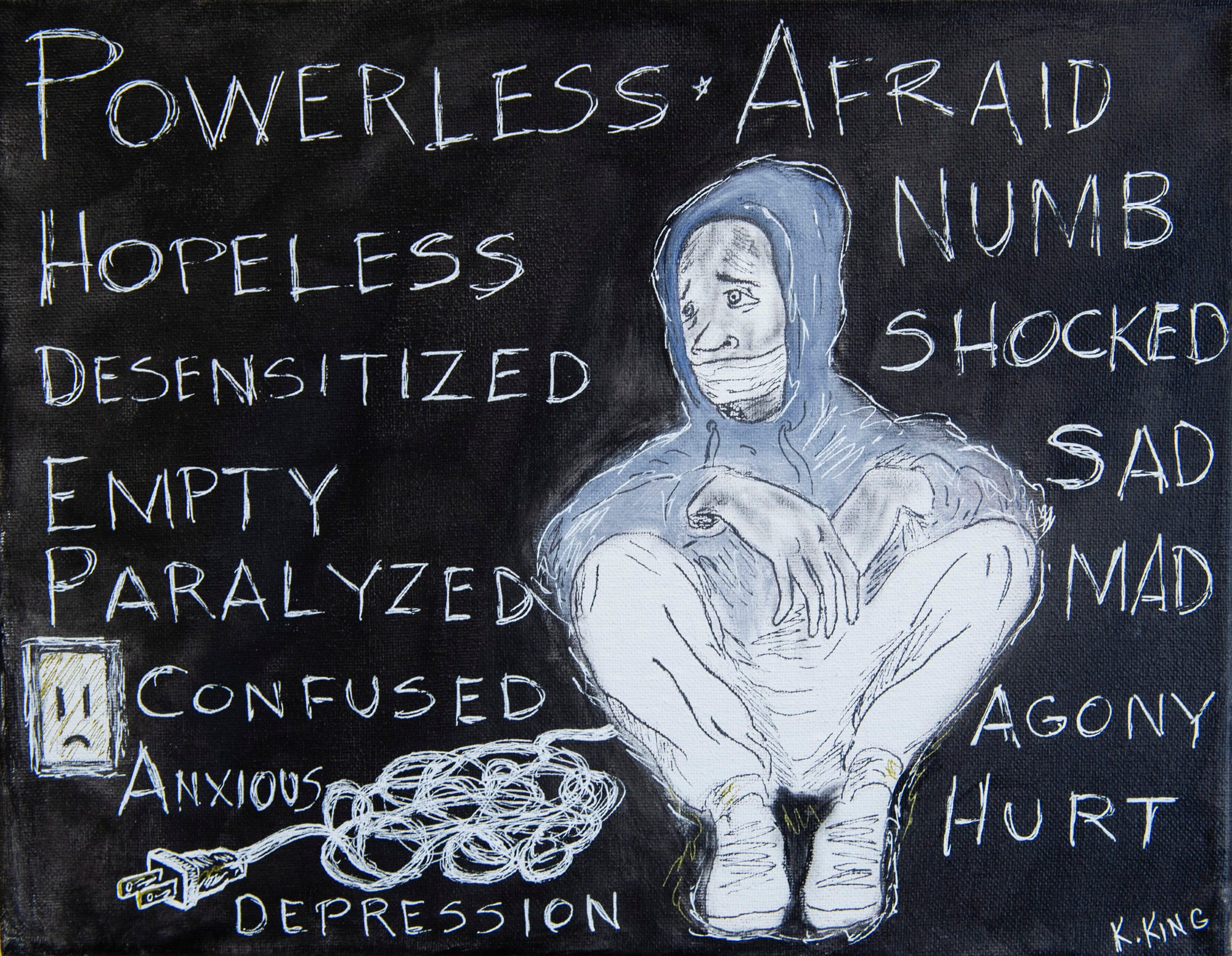"""The Advertiser partnered with local artists through King's Canvas studio to create artwork that illustrates the impact of violence on their communities.   """"Unplugged"""" by Kevin King. Artist statement: """"When people that I'm close with are killed, a deep sense of despair overtakes me ... Because of my lack of power I feel disconnected and unplugged from people and unplugged from life itself."""""""