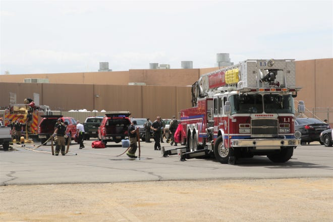 Farmington firefighters prepare to leave the scene of a reported inmate riot at the San Juan County Adult Detention Center on July 13. There were no injuries reported as of 2 p.m. on July 13.