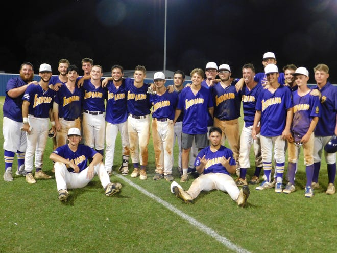 Members of the St. Landry Bank Indians baseball team celebrate following a dramatic 6-5 victory over the Shop Rite Crowley Millers on Friday night at Westminster Christian Academy.