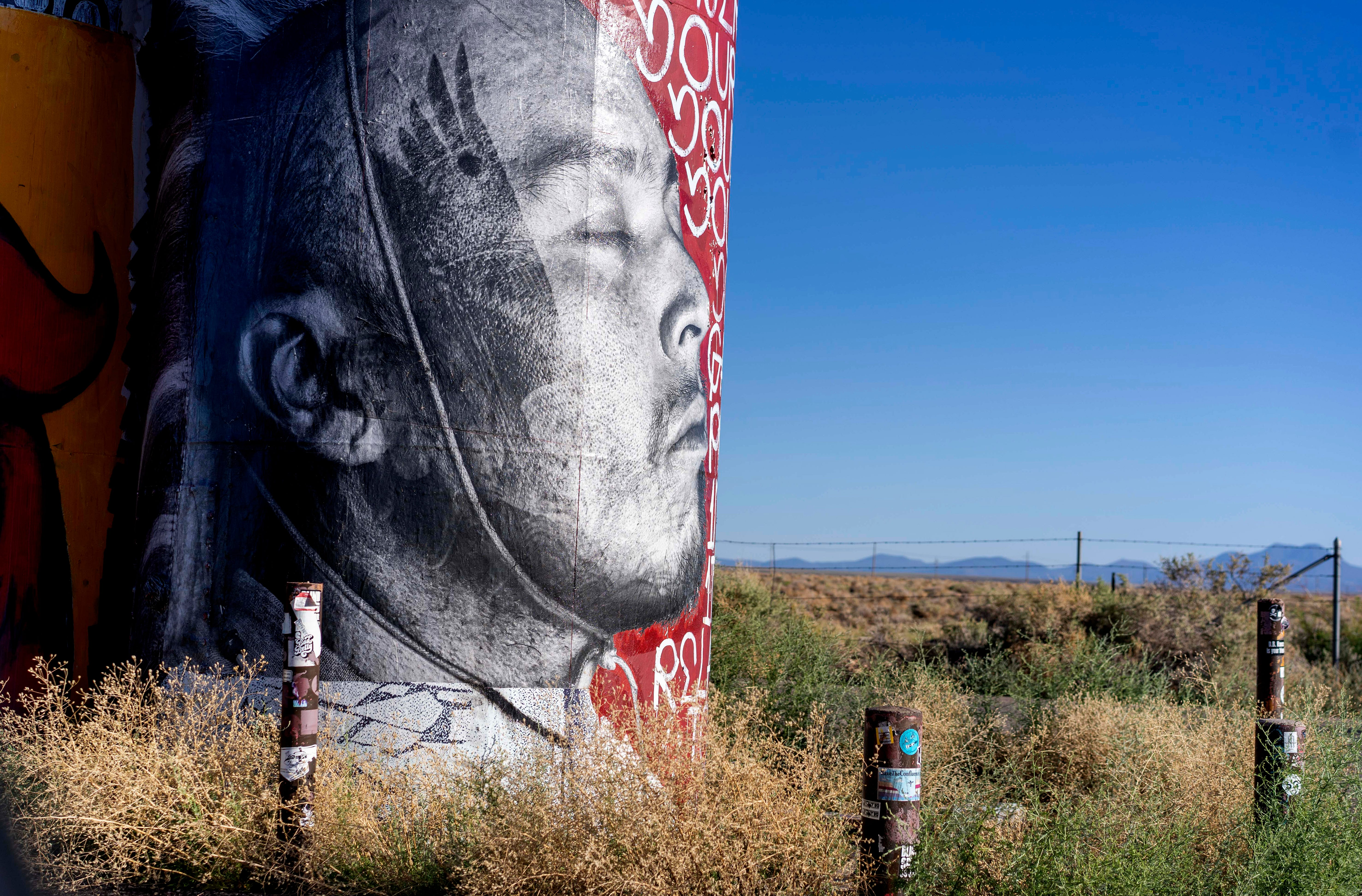 A mural adorns a water tanks on the Navajo Nation, where an estimated 30% percent of people live in homes without running water.