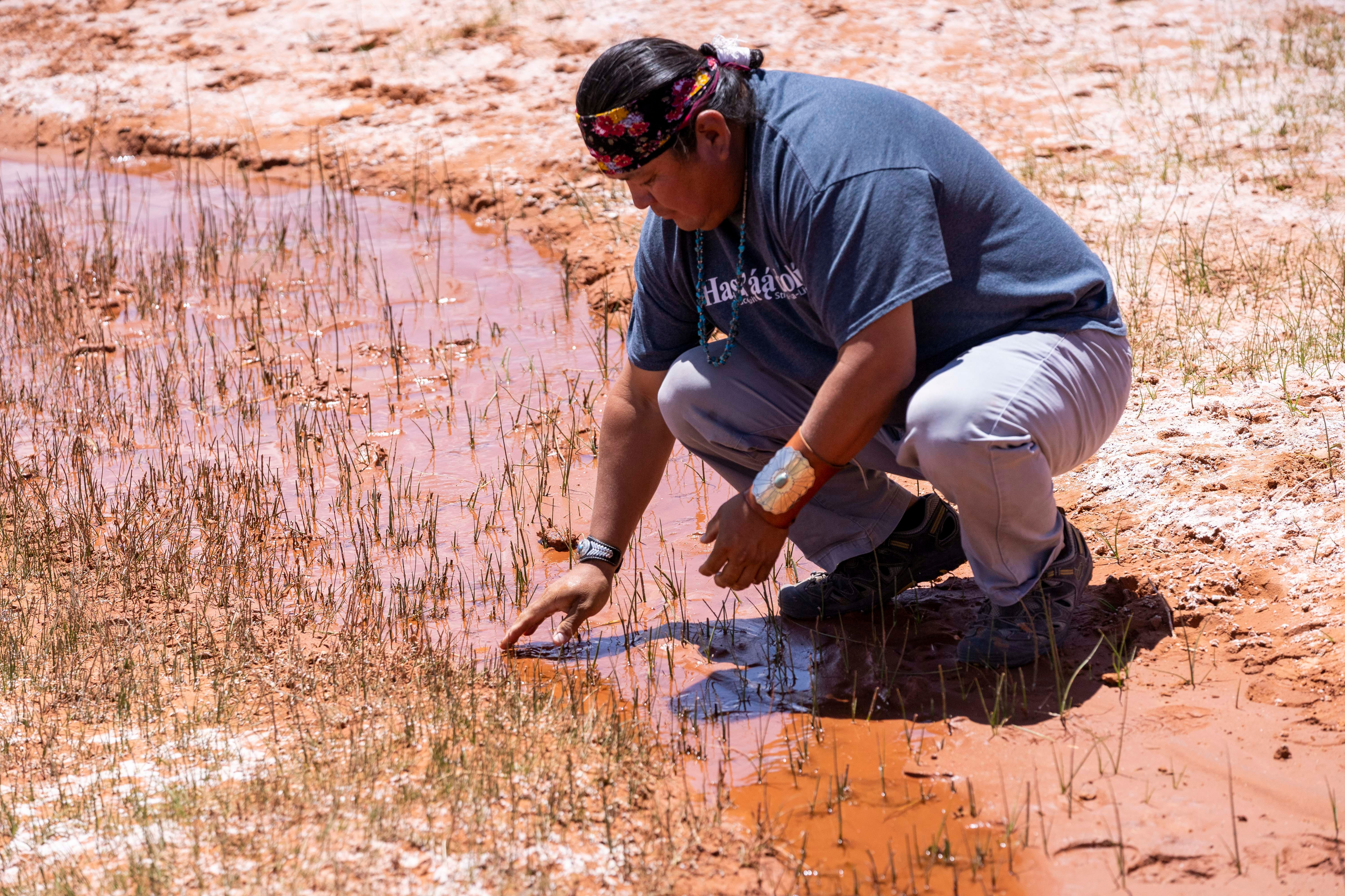 While driving through Monument Valley to deliver water to families, Larry Holiday stopped at a spring. People have long brought their sheep to drink from the stream.