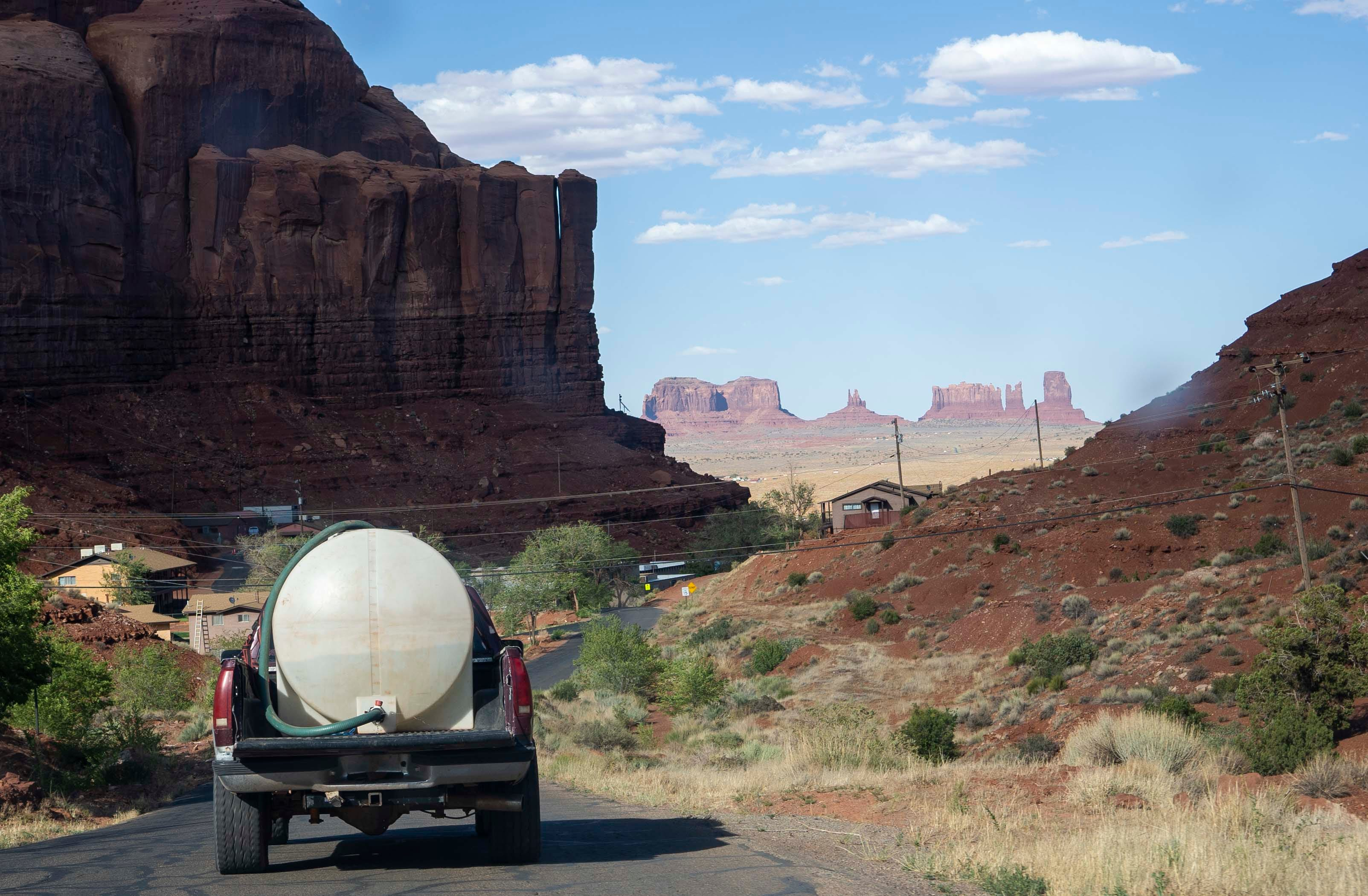 Tommy Rock drives to get water in Goulding, Utah, on the Navajo Nation.
