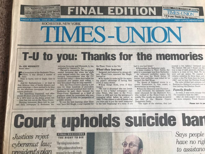 The Times-Union, a longtime Rochester afternoon newspaper, published its final edition on June 27, 1997.