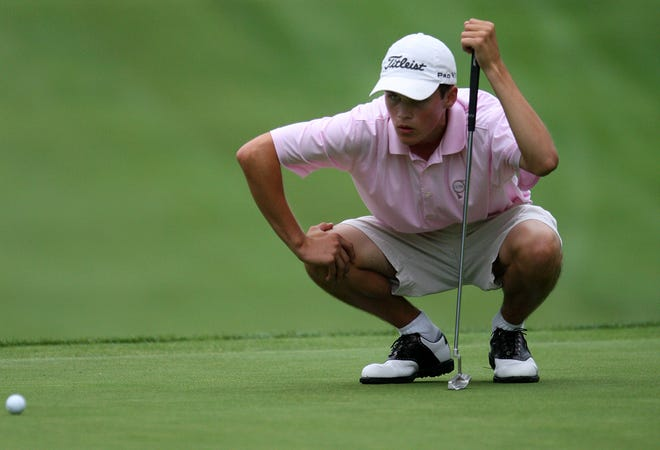Gavin Hall lines up a putt during the first round of the 2010 RDGA Championship at Oak Hill.