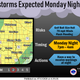 Strong to severe storms are expected to develop in the Sioux Falls area Monday evening. The storms could produce golf ball size hail and winds up to 70 mph. There could be a risk for flash flooding as well.