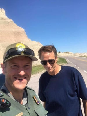 Tony Hawk and a Badlands National Park ranger on Sunday,  July 13.