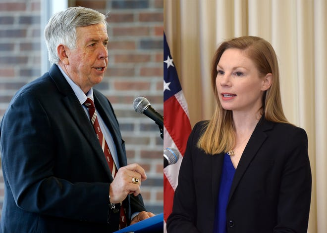 Gov. Mike Parson and Nicole Galloway