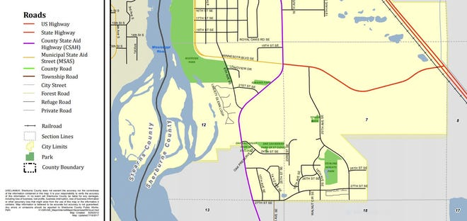 In this Sherburne County map of southeastern St. Cloud, Sherburne County Road 8 SE is marked in pink and runs north-south. About 3.5 miles of the road will be resurfaced starting at 24th Street SE and extending south.