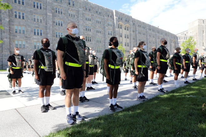 Class of 2024 cadets participate in basic training at the U.S. Military Academy at West Point July 13, 2020 in West Point, N.Y. The 1,200-member class has been brought to campus in three separate reception days to accommodate public health guidelines. Candidates are COVID-19 tested immediately upon arrival, wear facial coverings and practice social distancing.